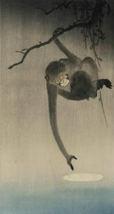 Ohara Koson (Shoson), Singe essayant d'attraper le reflet de la lune,1910