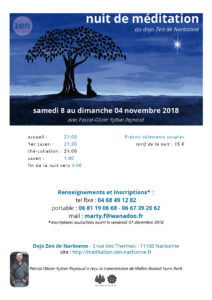 Nuit de zazen au dojo zen de Narbonne du 8 au 9 décembre 2018