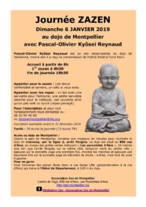 Journée de méditation zen à Montpellier - 06 janvier 2019