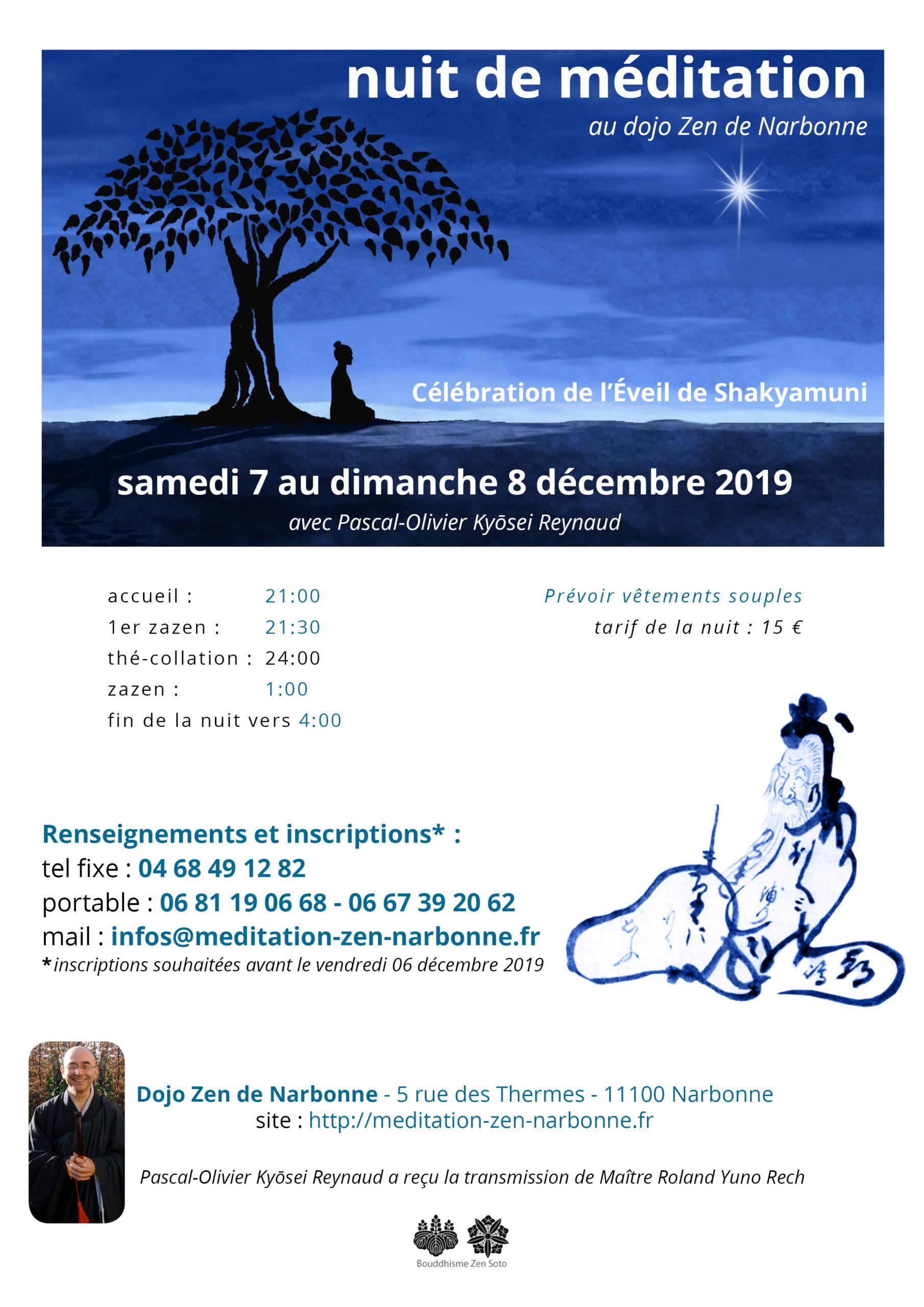 Nuit de zazen au dojo zen de Narbonne du 7 au 8 décembre 2019